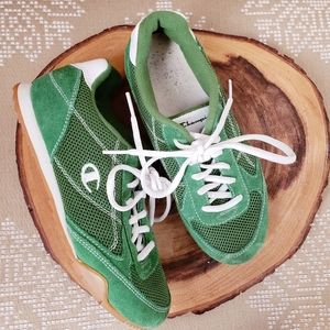 CHAMPION | VINTAGE STYLE LEATHER SNEAKERS Green